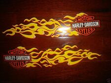 HARLEY DAVIDSON PAIR SMALL YELLOW FLAMES TANK/HELMET  DECALS (OUTSIDE) NEW
