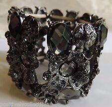 Chunky Amethyst Rhinestone Antiqued Silver Floral Stretch Bracelet SM