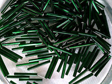 VINTAGE 300 TREE GREEN SILVER LINED GLASS BUGLE BEADS 20 mm #102011p