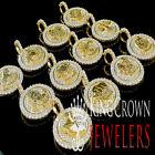 10K Yellow Gold On Silver Zodiac Sign Astrology Symbol Diamond Pendant Charm 2''