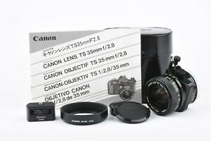 EXC++ CANON FD 35mm f2.8 S.S.C. TS TILT SHIFT LENS, CASE, TRIPOD ADAPTER, MANUAL