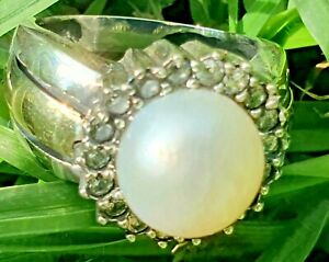 Sterling Silver and Gold Ring with Freshwater Pearl ,CZ