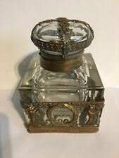 19th Century French Empire Ormolu Bronze and Crystal Inkwell
