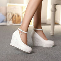 Womens Ankle Strap High Wedge Heel Platform Round Toe Dress Party Shoes Plus SZ