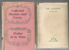 COLLECTED RHYMES & VERSES 1944 THE FLEETING by WALTER DE LA MARE 1933 2 BOOKS