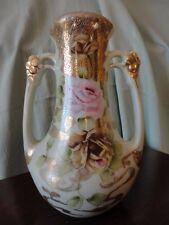 Japan Nippon double Handled Urn Vase Roses w decorative Gold Gild Porcelain
