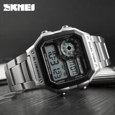 SKMEI Sport Edelstahl Herrenuhr 5ATM wasserdicht Digital Männer Armbanduhr I3A7