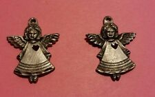 (2) Pewter Sisk Angel Pendant Charms  PT251 FREE SHIPPING