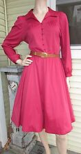 Vtg 70s Sears Red Full SWING Disco Boho Hippie Shir Retro Party Cocktail Dress M