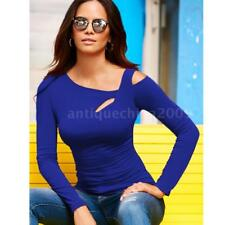 Women Long Sleeve Cut Out Cold Shoulder Top Bodycon Casual T Shirt Blouse M4W4