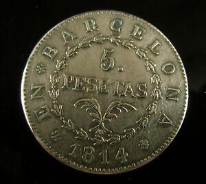 Spain 1814 5 Pesetas Coin - Barcelona