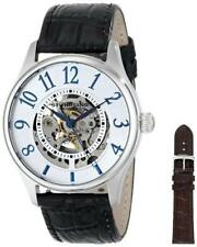 Stuhrling 746L 01 Delphi Solaris Automatic Skeleton Leather Strap Mens Watch Set