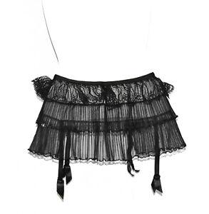 A6 NEW AGENT PROVOCATEUR Black Layered Lace Mesh Garter Belt Size 2