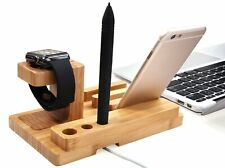 4 in 1 Wooden Desk Stand Holder Charge Dock Station For iWatch iPhone iPad 38 42