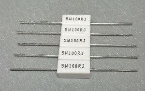 2/5PCS 100R 5W 5% Wire wound Resistor 5W100R