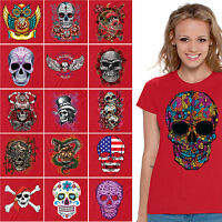 WOMENS Sugar Skulls T-shirt Halloween Shirts Day Of The Dead Skull T shirt RED