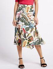 Stunning M&S PER UNA Multi-Coloured Bird & Leaf Patterned Midi Skirt ~Size UK 12