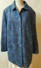 Dialogue Jacket Size 18W Blue Boucle Long Topper Pockets Button Down