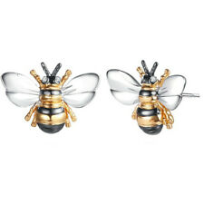 Fashion Bee Two Tone Stud Earrings for Women 925 Silver Jewelry A Pair/set