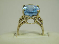 RING:  SIZE 6.5,  HIGH SET NAT SKY BLUE TOPAZ WH SAPPHIRE 925 STERLING SILVER