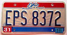 Ohio 2011 HAMILTON COUNTY BIRTHPLACE OF AVIATION License Plate NICE # EPS 8372