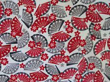 JAPANESE FANS FLOWERS SAKURA RED WHITE COTTON FABRIC FQ