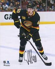 "Elias Pettersson Canucks Signed 8"" x 10"" Black Alternate Jersey Skating Photo"