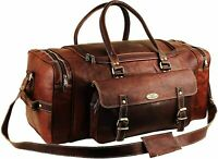 """New Men's 24"""" Hand-Crafted Travel Bag Brown Leather Duffel Luggage Weekend Sport"""