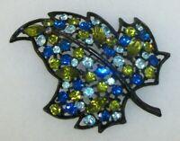 Vintage Black Enamel Leaf Costume Jewelry Pin Brooch Green & Blue Glass Stones