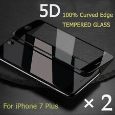 × 2 Black 5D Tempered Glass Curved Full Cover Screen Protector For iPhone 7 Plus