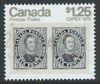 Scott 756 - $1.25 CAPEX 78 tagged sheet stamp with KISS or DOUBLE PRINT variety