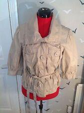 "CHiC OASIS cotton safari style jacket, stone colour 10,  22""L vgc, 3/4 L sleeves"
