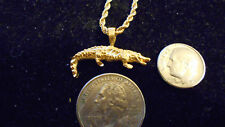 bling gold plated swamp lake alligator pendant charm rope chain hip hop necklace
