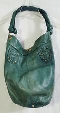 Luba J Teal Aqua Colored Soft Leather Studded Large Hobo Tote Bag