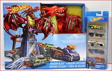 LOT 2- Hot Wheels DRAGON BLAST Multi-Level Track Set + 5 PACK of Extra Cars =NEW