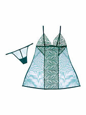 La Perla Calla Collection L Babydoll Thong Set Sheer Tulle Lace Dark Green New
