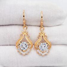 18K Yellow Gold Filled Clear Palace Flower Mystic Topaz Drop Dangle Earrings
