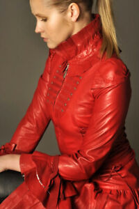 Women's Red Corset Leather Dress Coat Jacket in Victorian Style Costume Impero