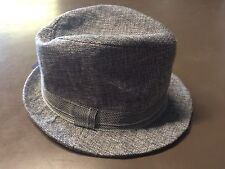 Boys Fedora Hat Grey Blend With Striped Band New Size 6-12 Months New