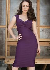 PINUP COUTURE Erin Wiggle Dress Plum / Purple Women's Size XL Pencil Rockabilly