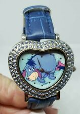 Disney Eeyore Quartz Watch Heart Shaped Stone Set Case Blue Band Winnie The Pooh