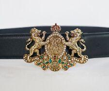 NWT RALPH LAUREN COLLECTION SWAROVSKI CRYSTAL LION CREST GOLD CROWN Belt M