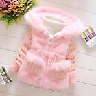 Toddler Kids Baby Girls Winter Warm Hooded Coat Knit Faux Fur Jacket Outerwear