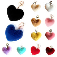 Women Heart Shape Key Chain Fluffy Soft Pompom Bag Accessories Key Ring Gifts US