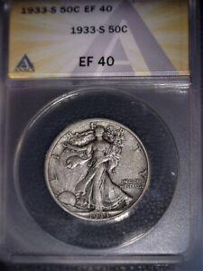 1933-S Walking Liberty Half Dollar, ANACS EF40. Tough Date, Issue Free