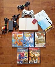 SONY PS2 BUNDLE:  PS2 Slim Silver + Manuals + Controller + Memory Card + Games