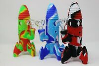 """8"""" Rocket Silicon Bong Smoking Water Pipe W/Glass Bowl Assorted Color"""