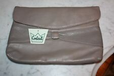Contessa Vintage Taupe Leather Clutch with a pebble like accent on front NWT