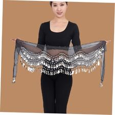 3 Rows 128 Gold Coins Belly Dance Costume Hip Scarf Skirt Belt Wrap Waist EC Black