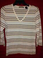 Liz Claiborne LizGolf 3/4 Sleeve Shirt Blue White Stripe Size Medium